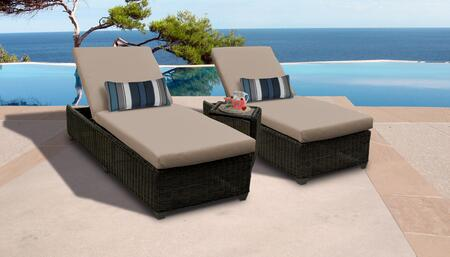 Venice Collection VENICE-2x-ST-WHEAT Patio Set with 2 Chaises   1 Side Table - 2 Sets of Wheat