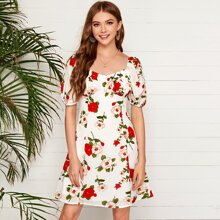 Ruched Bust Floral Milkmaid Dress
