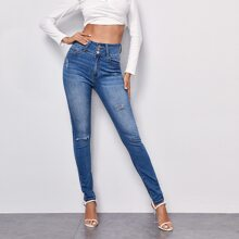 Button Front Ripped Skinny Jeans