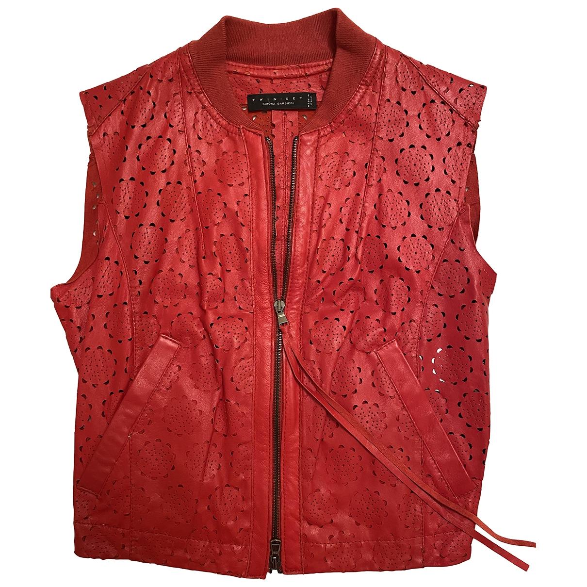 Twin Set - Blouson   pour femme en cuir - rouge