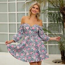 D&M Off Shoulder Leopard & Floral Print Dress