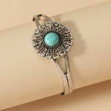 Turquoise Decor Cuff Bracelet