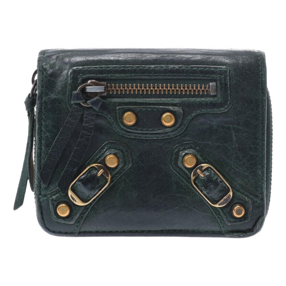 Balenciaga - Portefeuille   pour femme en cuir - vert