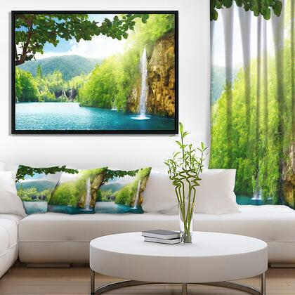 FL6940-42-32-FLB Waterfall In Deep Forest - Landscape Photography Framed Canvas Art Print -
