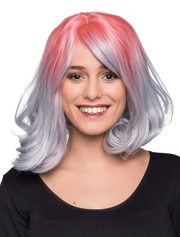 Kostuemzubehor Peruecke Ombre grau/pink