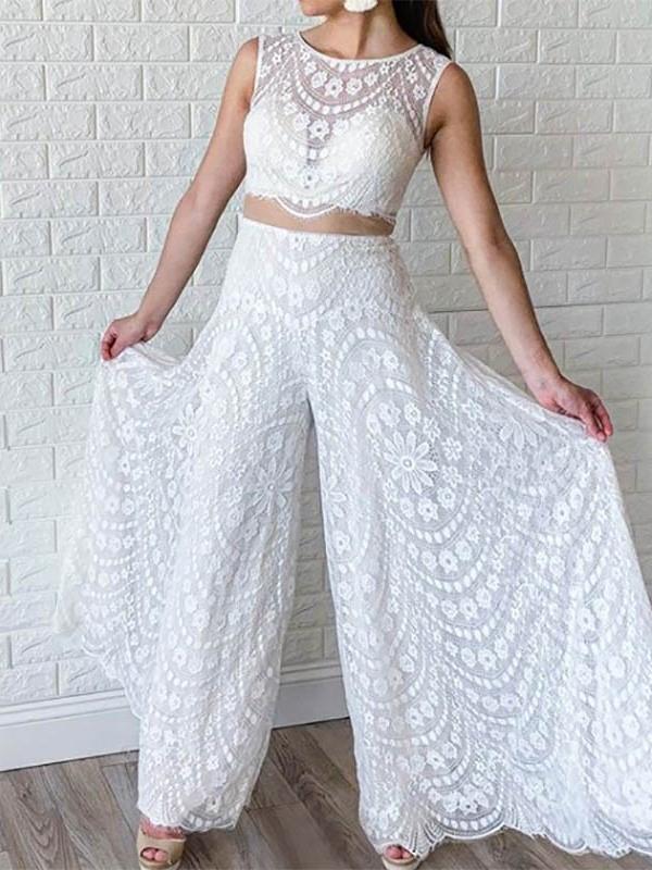 Ericdress Column Scoop Neck Lace Wedding Jumpsuits