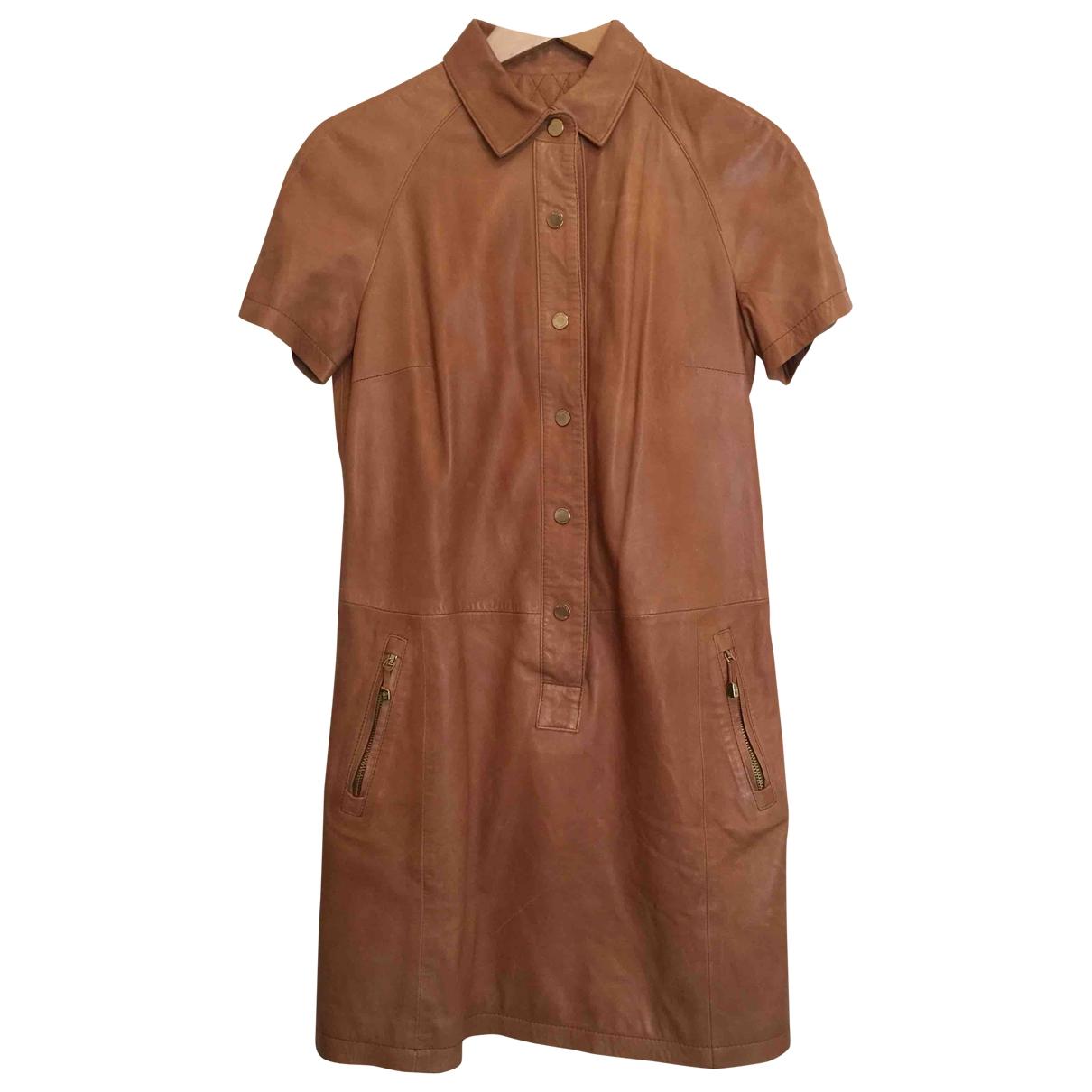 Massimo Dutti \N Kleid in  Kamel Leder