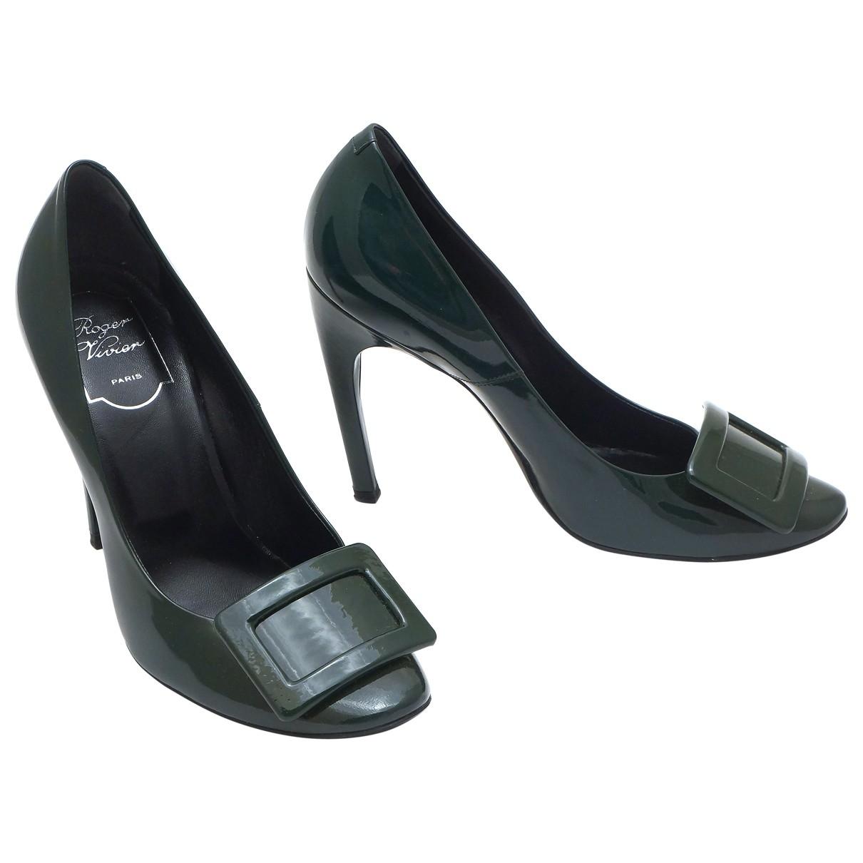 Roger Vivier - Escarpins   pour femme en cuir verni - vert