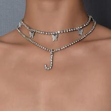 2 piezas collar con letra con diamante de imitacion
