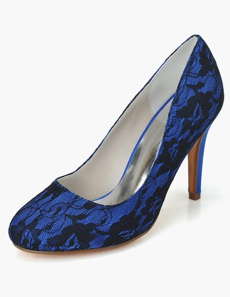 Milanoo Zapatos de novia de encaje Zapatos de Fiesta de tacon de stiletto Zapatos blanco  Zapatos de boda de puntera redonda 9.5cm