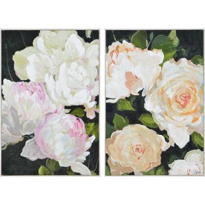 Adrianne Collection OL1915 2 PC Small Size Canvas Art From Artist Charlene Lynch in Matte White Timber  Frame