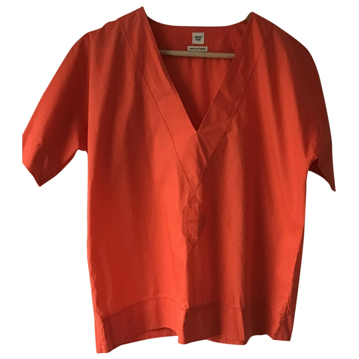 Hermes - Top   pour femme en coton - orange