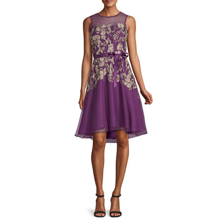 J Taylor Sleeveless Embroidered Floral Fit & Flare Dress, 4 , Purple