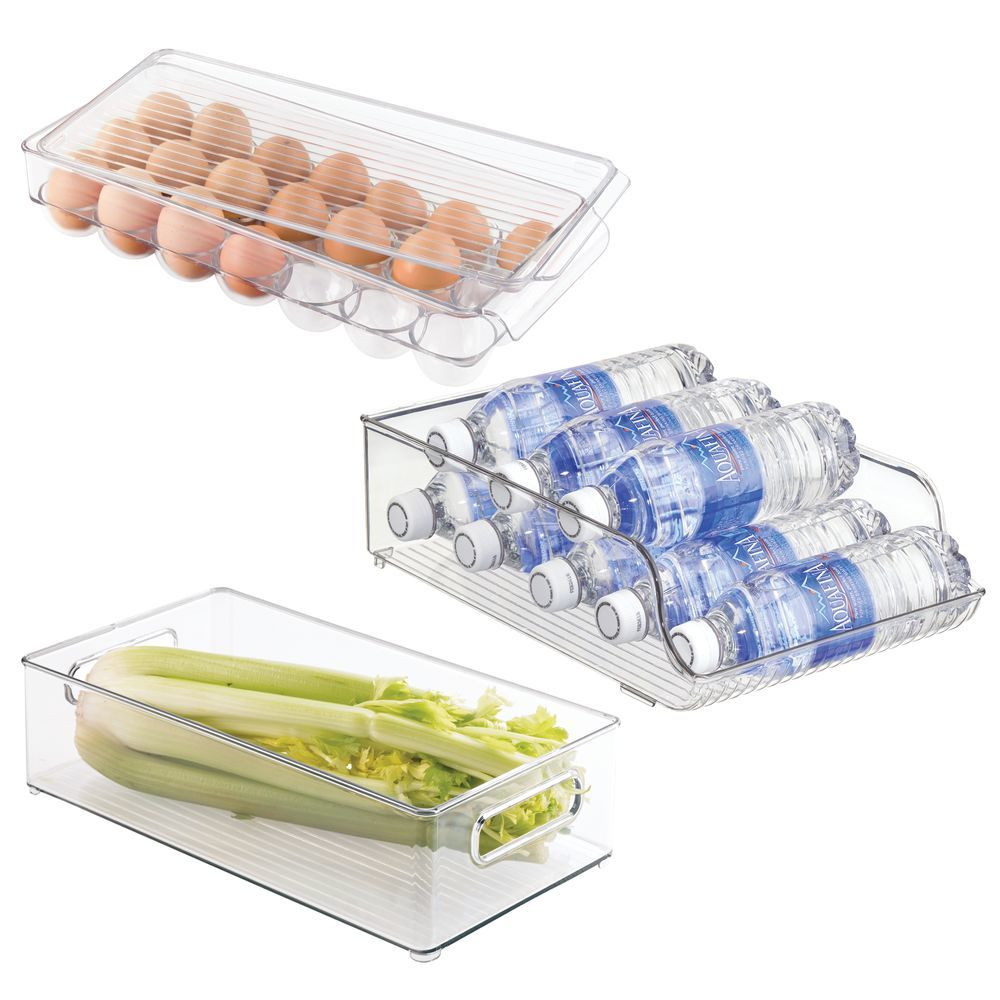 Plastic Kitchen Fridge Food Storage Organizer Bins & Egg Holder - Set of, by mDesign