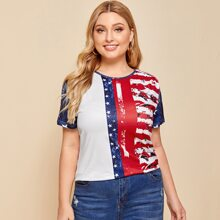 Plus Flag Print Color-Block Tee