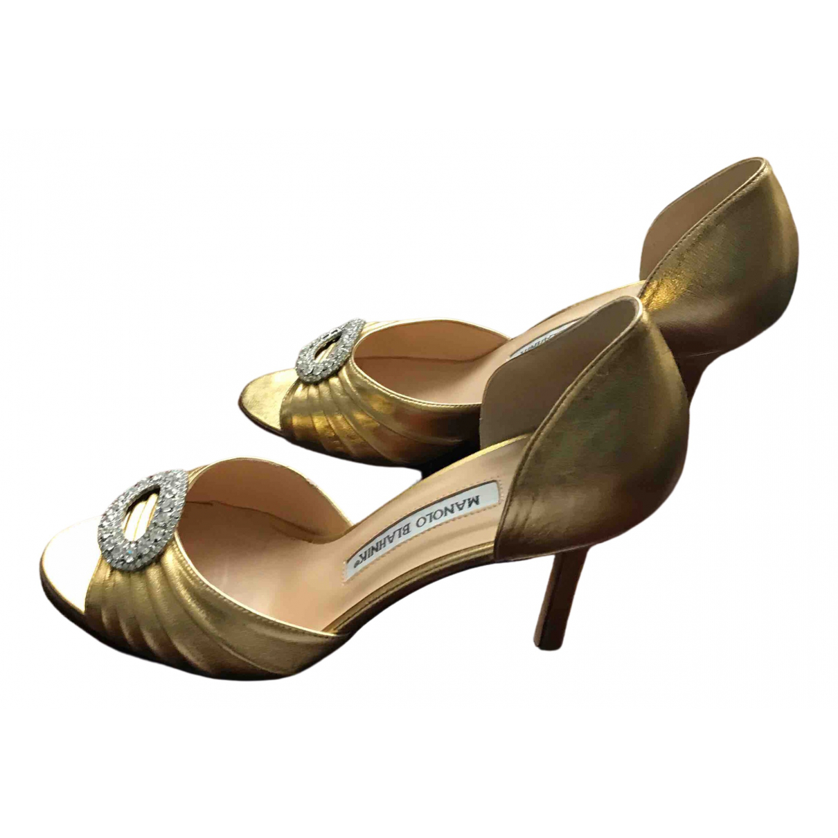 Manolo Blahnik \N Gold Leather Heels for Women 37 EU