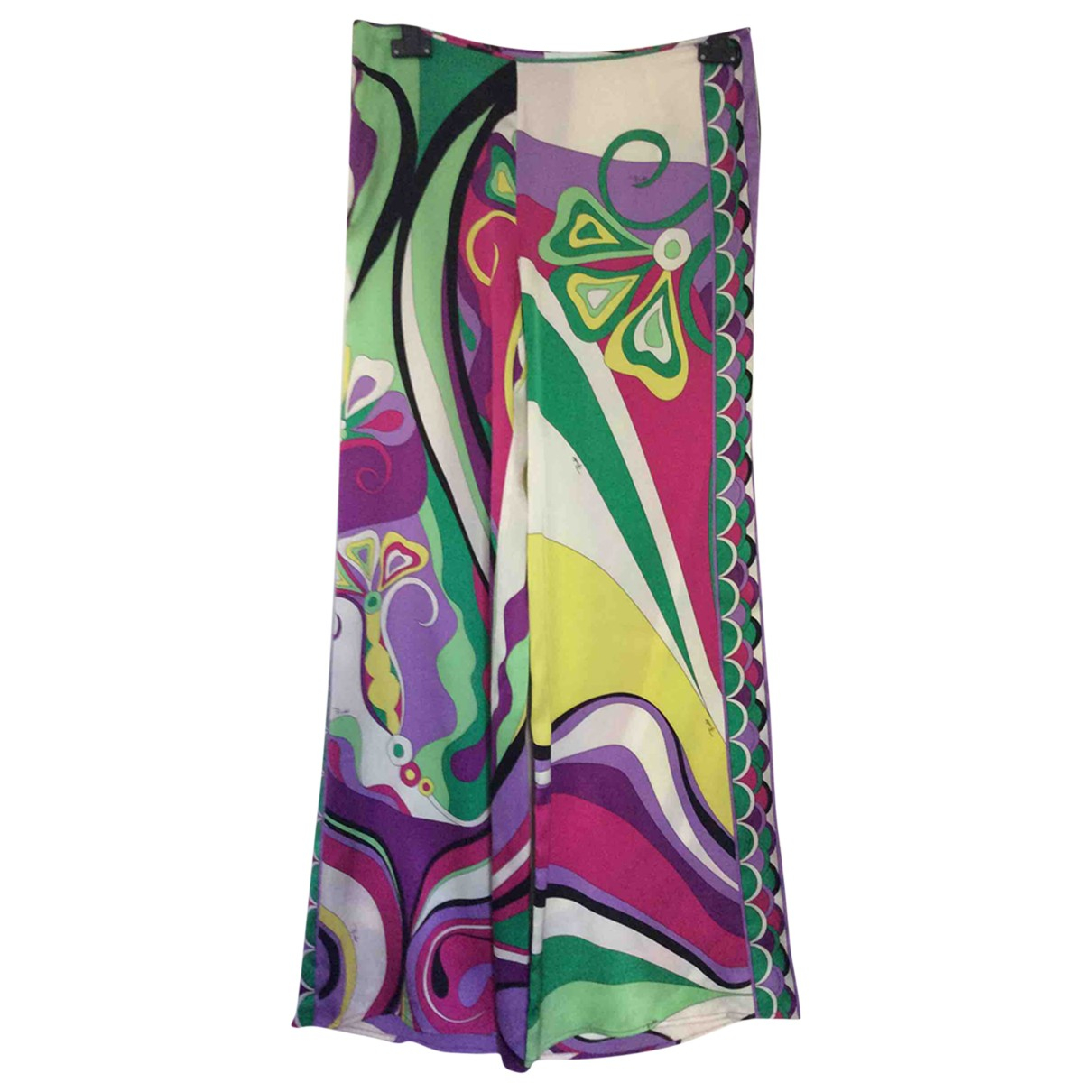 Emilio Pucci \N Multicolour Silk Trousers for Women 42 IT