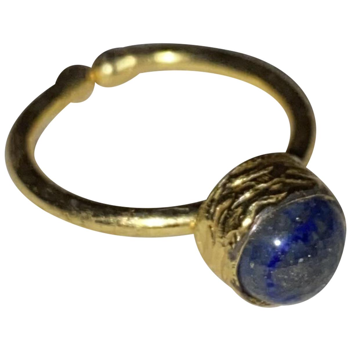 - Bague Lapis lazuli pour femme en metal - dore