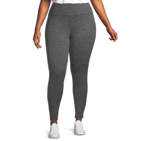 Stylus Plus Womens Mid Rise Full Length Leggings, 2x , Gray