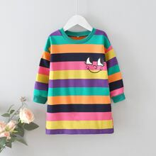 Toddler Girls Cartoon Graphic Colorful Stripe Sweatshirt Dress