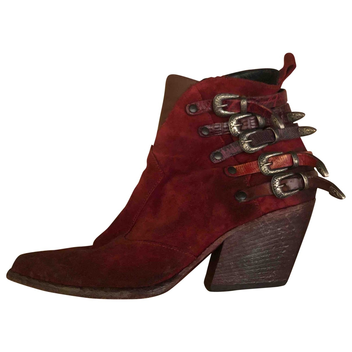 Elena Iachi \N Red Leather Ankle boots for Women 38 EU