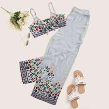 Cami Top mit Band vorn, Blumen, Streifen Muster und Hose Set