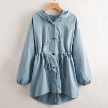 Mantel mit Kordelzug um die Taille, Knopfen und Kapuze