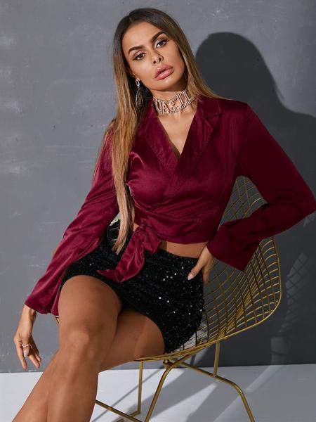 YOINS Burgundy Lace-up Design Lapel Collar Long Sleeves Blouse