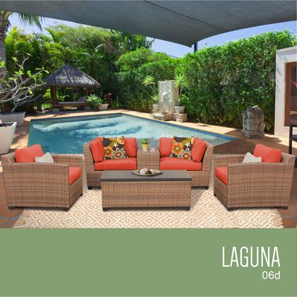 LAGUNA-06d-TANGERINE Laguna 6 Piece Outdoor Wicker Patio Furniture Set 06d with 2 Covers: Wheat and