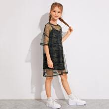 Girls Drop Shoulder Sheer Camo Mesh 2 In 1 Dress