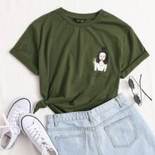 T-Shirt mit Figur & Buchstaben Grafik