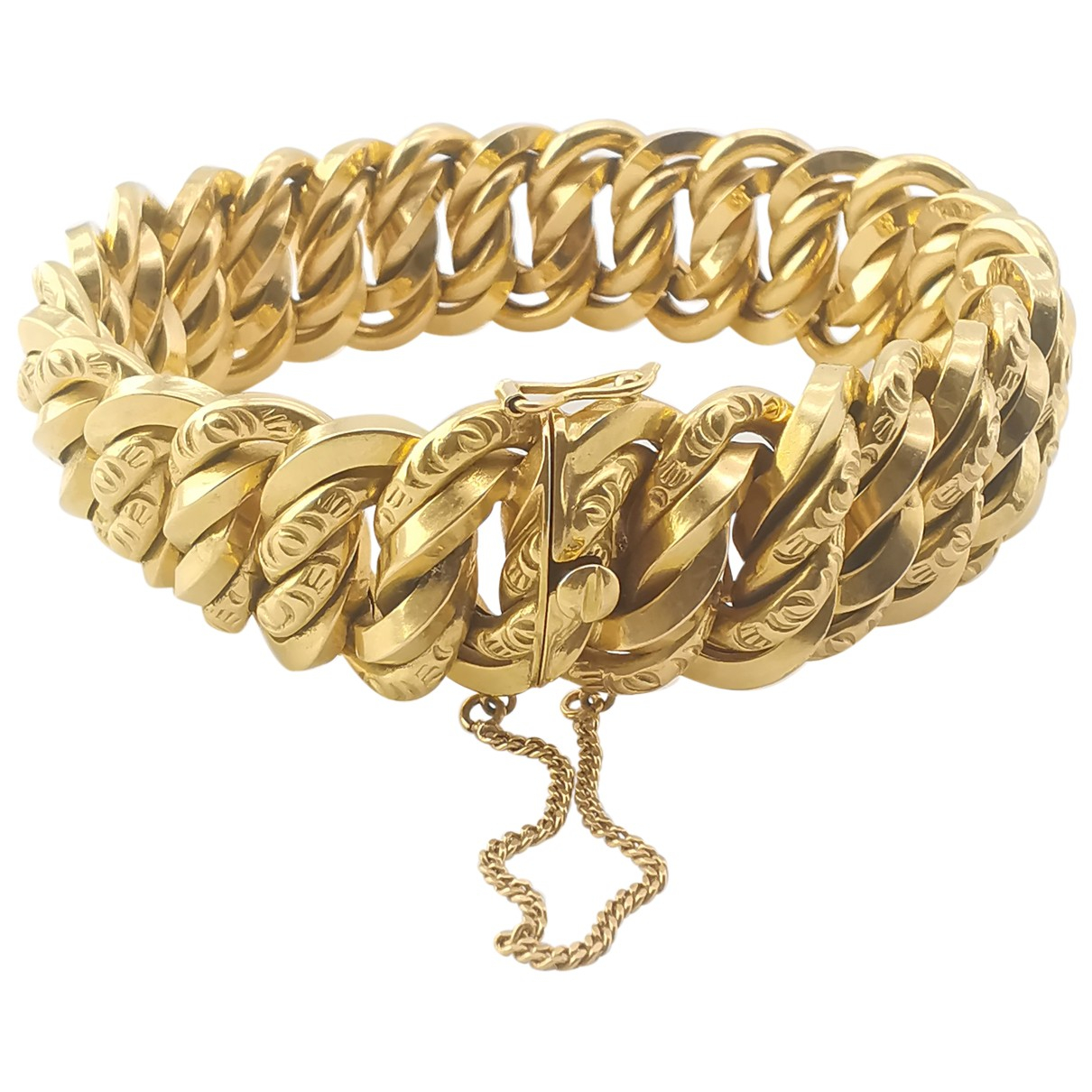 Non Signe / Unsigned  Maille Americaine Armband in  Gold Gelbgold