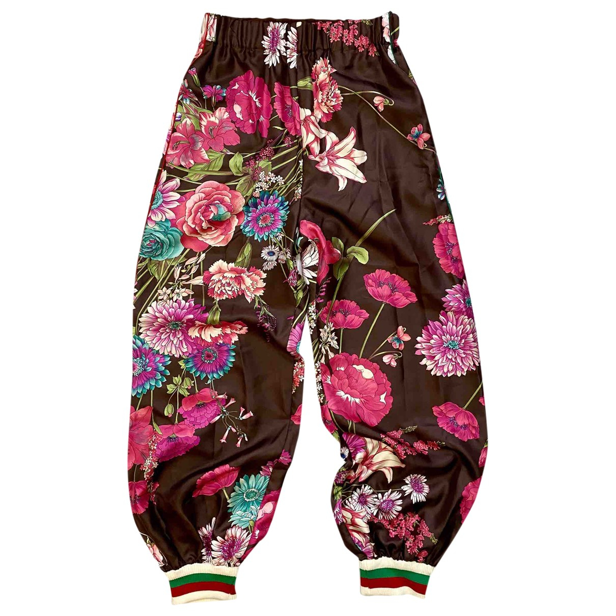 Gucci \N Multicolour Silk Trousers for Women 38 IT