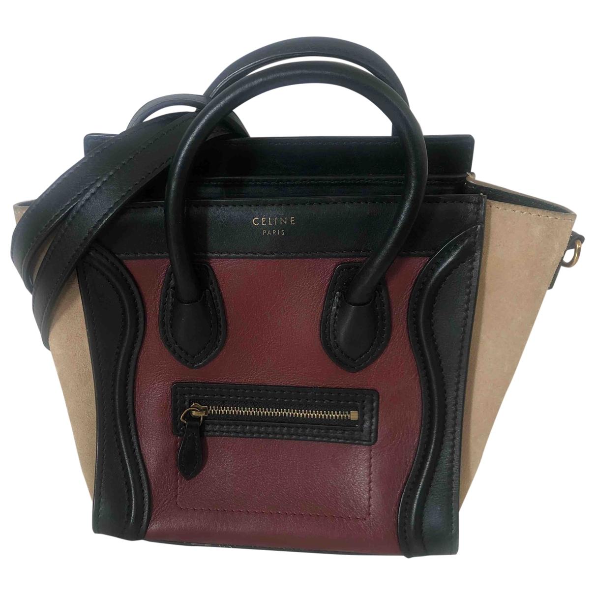 Celine Nano Luggage Burgundy Leather handbag for Women \N