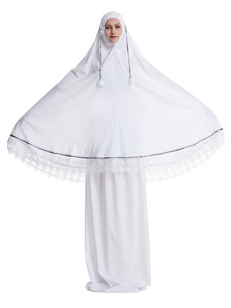 Milanoo Arabian Clothing Black Muslim Abaya Dress Long Sleeves Lace Hem 2 Piece Outfit