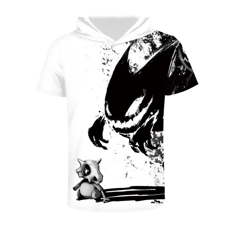Adorable Monster Comfortable Round Neck 3D Short Sleeve for Men Hooded T-shirt