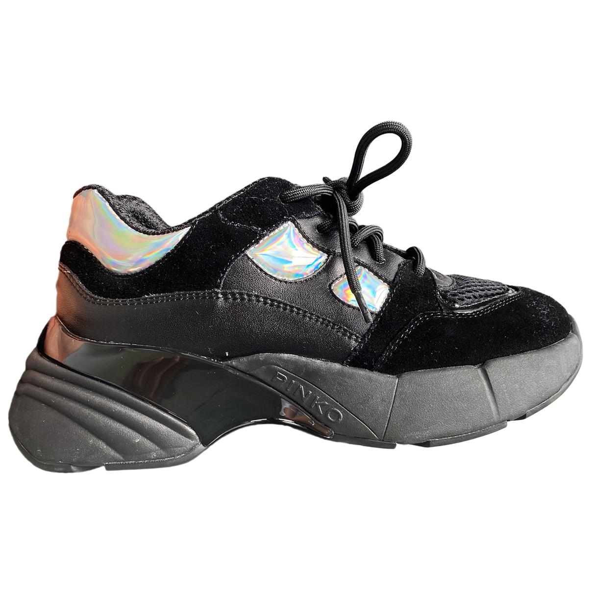 Pinko - Baskets   pour femme en cuir - noir