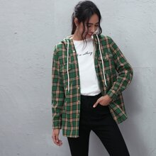 Mantel mit Karo Muster und Taschen Klappen