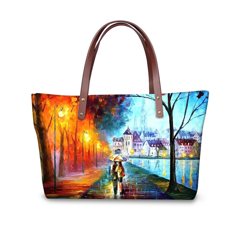 Couple with Umbrella in the Rainy Day Romantic Waterproof 3D Printed Shoulder HandBags