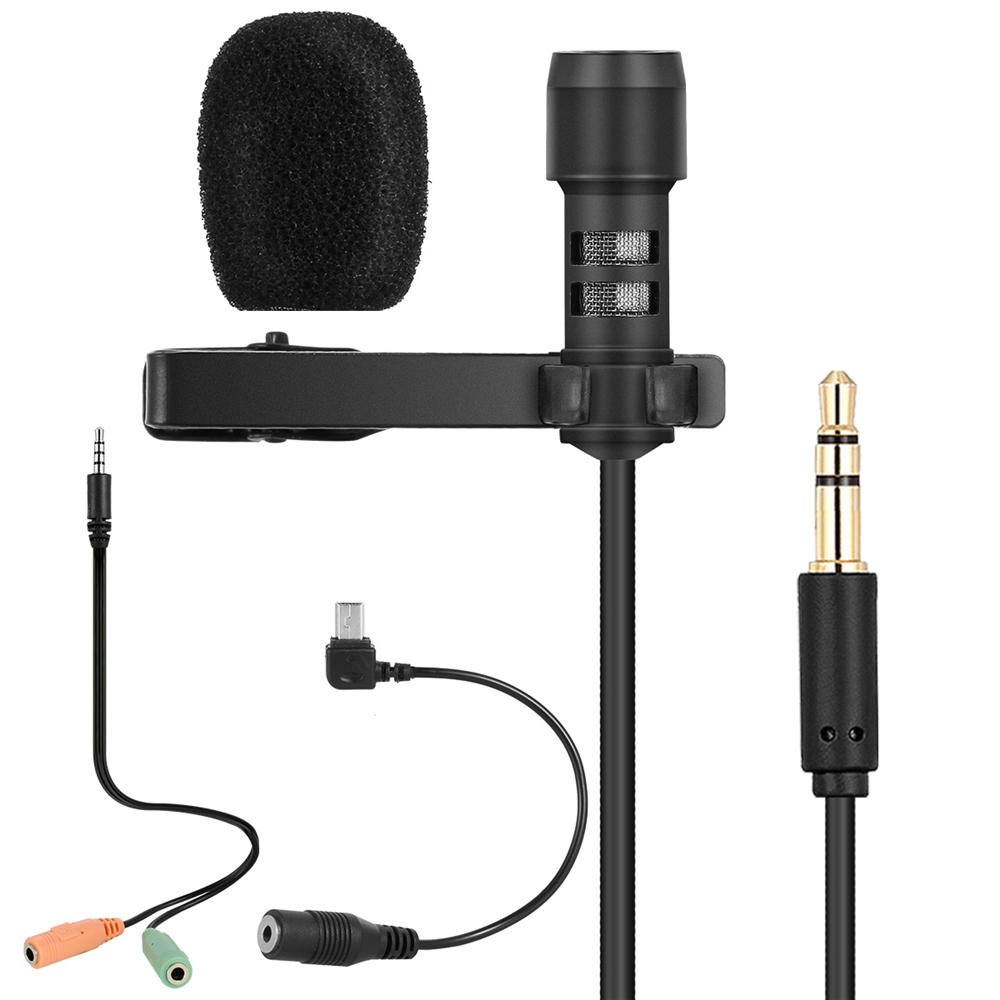 Yanmai R955 Lavalier Omnidirectional Double Condenser Microphone Clip-on Lapel Condenser Microphone For Gopro Camera Pho