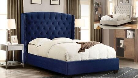 Majestic Collection MAJESTICQUBEDNB Queen Size Sleigh Bed with Nail Head Wing Accents  Button Tufted Headboard  Low Profile and Plush Velvet
