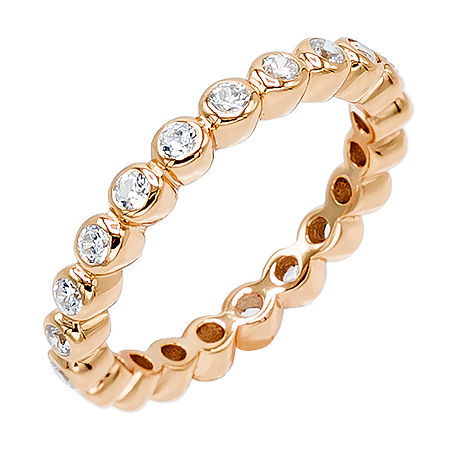 DiamonArt 3MM 1/2 CT. T.W. White Cubic Zirconia 14K Rose Gold Over Silver Eternity Band, 8 , No Color Family