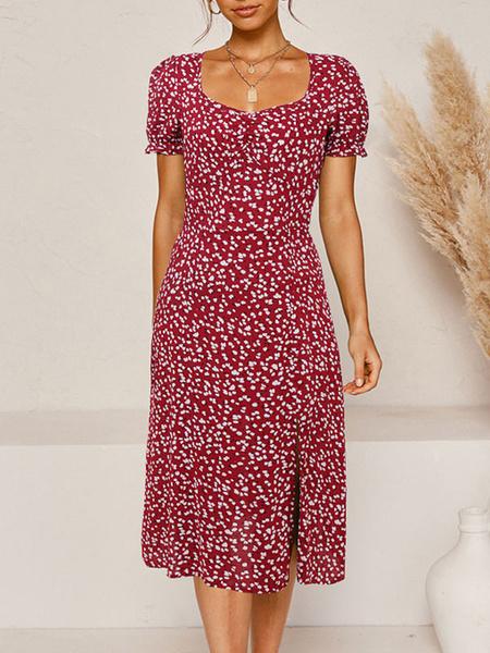 Milanoo Vestido de verano Cuello cuadrado Split Ditsy Vestido de playa con estampado floral