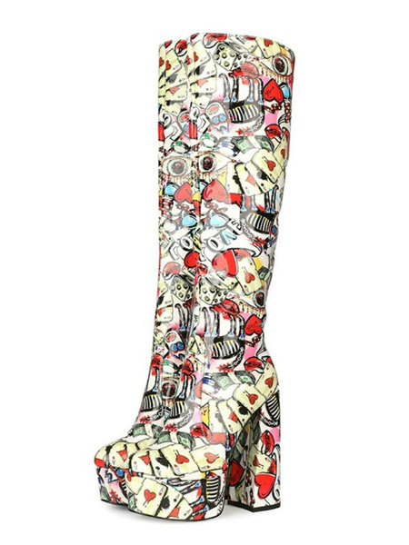 Milanoo Knee-High Boots PU Leather Red Printed Round Toe Chunky Heel Knee Length Boots For Woman