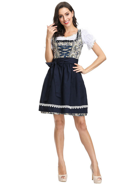Milanoo Beer Girl Costume Dark Navy Printed Lace Up Dress Polyester Oktoberfest Holidays Costumes Oktoberfest Costumes