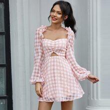 Double Crazy Kleid mit Ruesche, Ausschnitt, Punkten Muster und Karo Muster