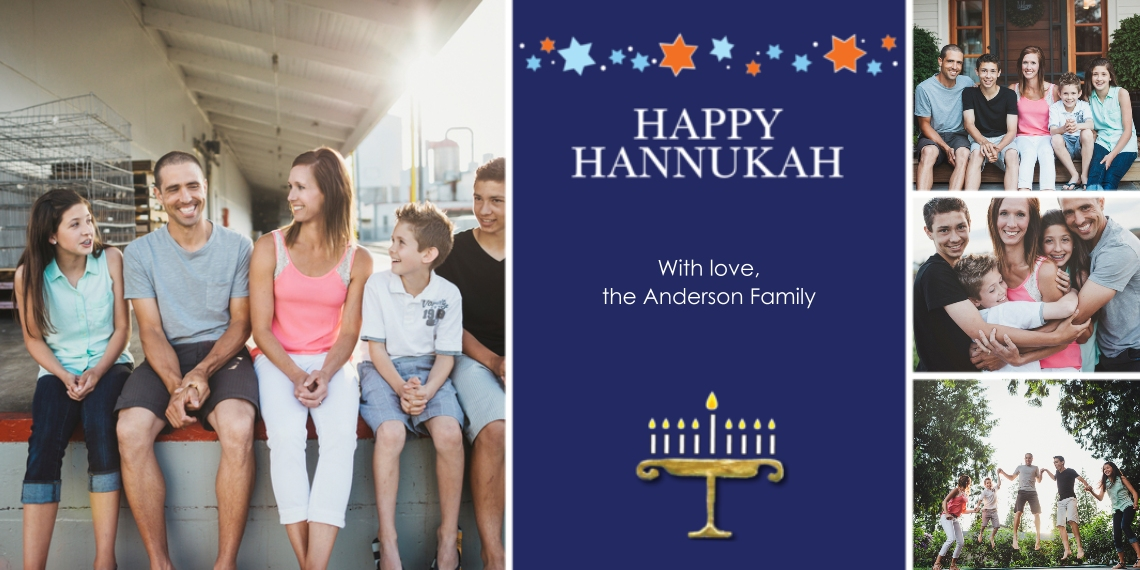 Hanukkah Photo Cards Flat Matte Photo Paper Cards with Envelopes, 4x8, Card & Stationery -Hanukkah Menorah with Stars