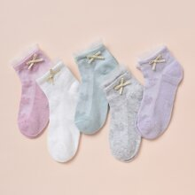 5pairs Toddler Girls Bow Mesh Trim Socks