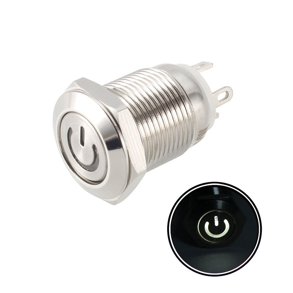 Momentary Metal Push Button Switch Flat Head 12mm Mounting Dia 1NO 12V White LED (White)