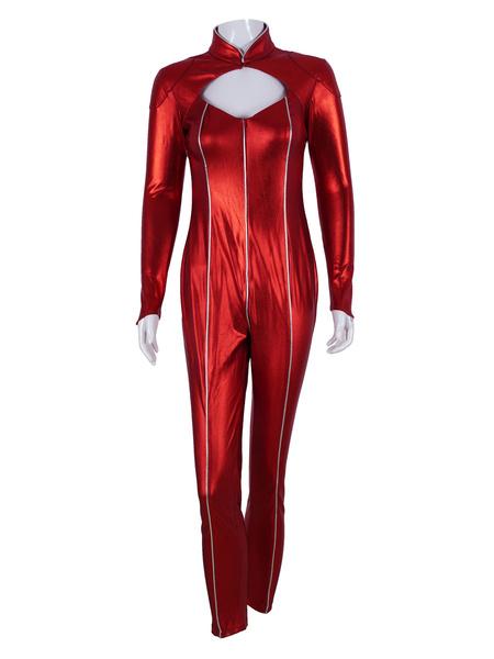 Milanoo Persona 5 Ann Takamaki mono rojo recortado disfraz de Cosplay Halloween